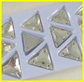 Decorativa flatback costurar& hotfix 18#\23# triângulo forma de vestuário de cristal pedra de vidro