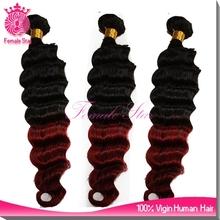 2015 hot fashion 8A virgin deep wave fusion extension ombre 99j color hair extensions