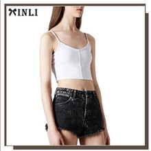 China Munufacturer Fashion Polyester Elasticity Plain White Woman Crop Top