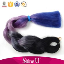 Wholesale two colored synthetic braiding hair, jumbo braid 100 synthetic braiding hair