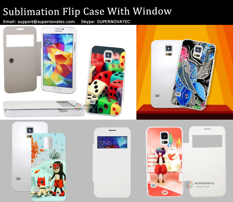 Dye Sublimation Blanks Full Size Printed PU Leather Cover for Samsung Galaxy S5