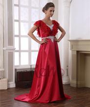 2015 suzhou red long chiffon evening dress for fat women