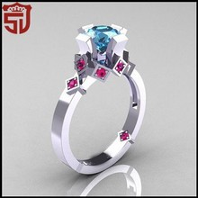 Wholesale 925 Jewelry Pink Zircon Black Gold Plated Silver Ring