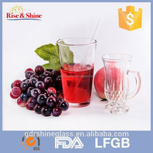 FDA approved 450ml clear drinking embossed glass candle jar/water glass cup