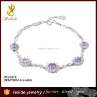 [Reilide]Costume jewelry imported bracelets china five oval amethyst crystal zircons chain bracelets