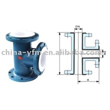 PTFE Lined Flange Equally Tee for oil gas line