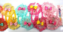 2015 Girls fashion cottage chic colorful sun flowers with mini bow and crystal stone center hair clips