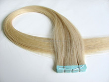 Raw virgin unprocessed human double sided tape hair extensions with gaps