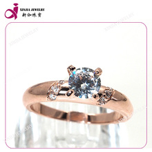 Fashion AAAAA designs finger ring plated synthetic one stone diamond ring