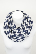 Navy Blue Knitted Chevron Infinity Scarf