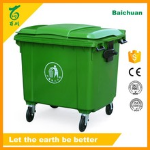 1100L Plastic Large Container Plastic Outdoor Bin with Wheelie Square Waste Can with Pedal or Not