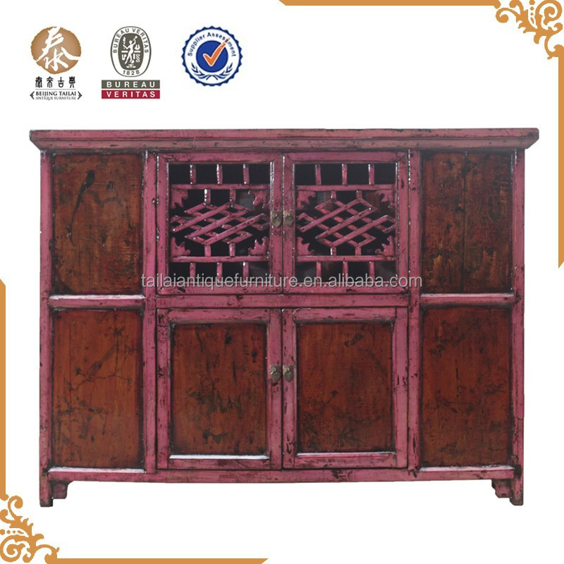 Chinese antique furniture red pine wood four door cupboard buy wood