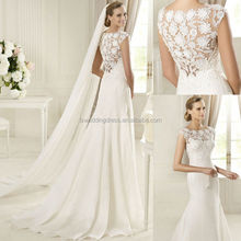 WD4035 sheer bodice and back lace applique natrual waist long veil mermaid 2012 cap sleeve appliqued tulle wedding dress