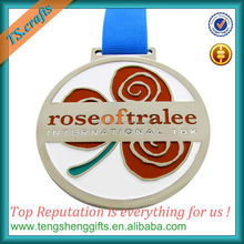 We make custom silver rose medal with ribbon