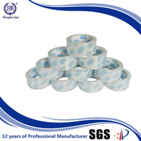bopp gum adhesive tape(super clear Bopp film+acrylic glue)-paper core printing can be seen clearly