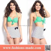 Cute String Padded Bikini With Dot Pattern Skirt