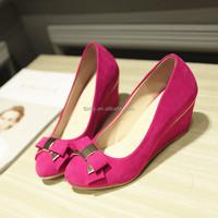 New design autumn fuchsia women soft sole wedge shoes