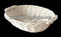 oval wicker tray with wooden handle (factory supplier)