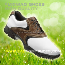 fashion brand name leather shoes sport men, business golf shoes men with spike on the grass
