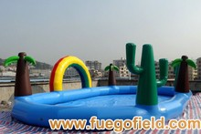 2014 new giant swimming pool competitive price 0.55 mm PVC children's inflatable swimming pool factory supply