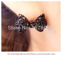 Min order $15 (mix order) New High Quality Fashion Vintage Black Bow Tie Jewelry Earrings LX00094