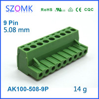 Fashin and new plastic 9 pins and 5.08mm spacing terminal block for electronics, pcb and din rail