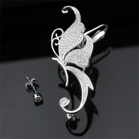 EHR0019 Elegant Single Butterfly Crystal Paved Earring Stud Ear Cuff Wrap Lady 925 Sterling Silver