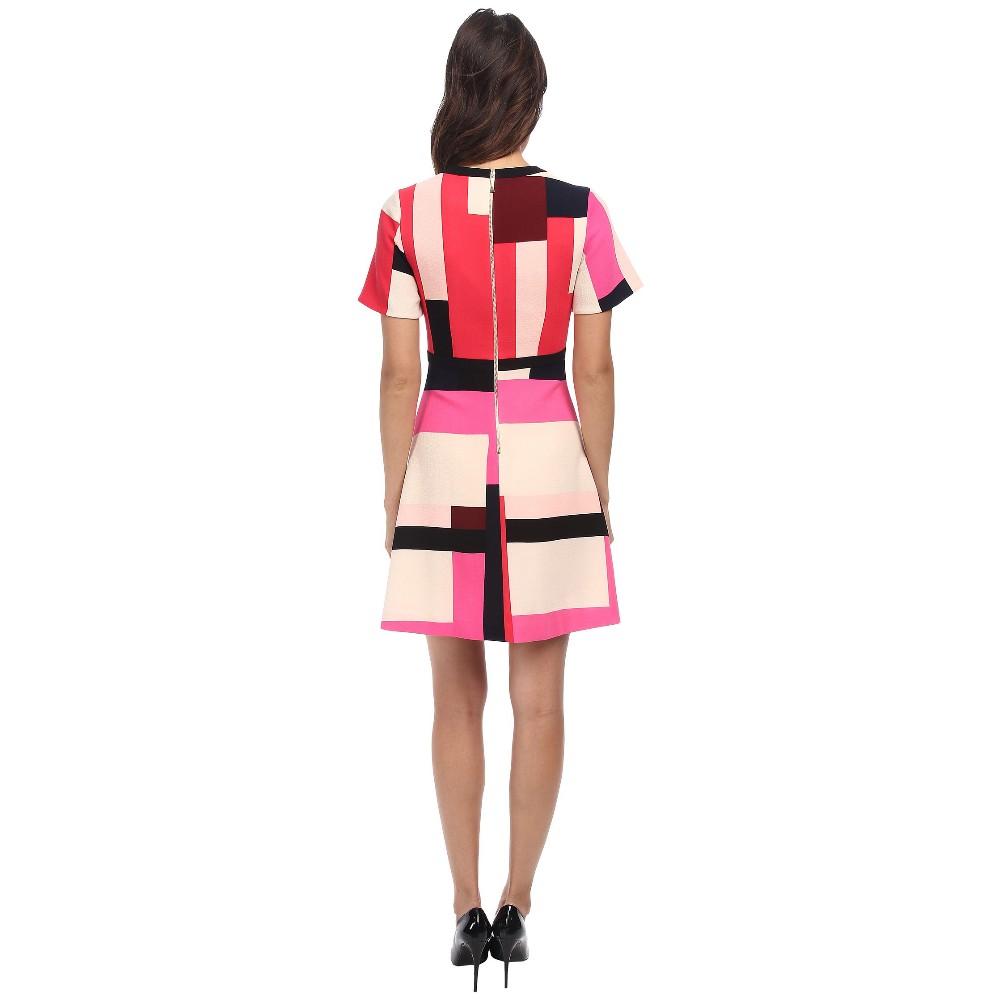 Simple Clothes WomenColor Block DressesColor Combination Dress 20004