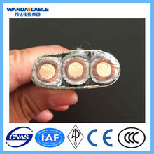 Oil Well Used,3 Core Galvanized Steel Armored,Rubber Cable Cover