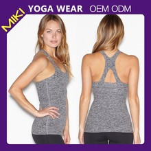 Latest fashion stretch wholesale yoga wear tank top, sleeveless women yoga tops
