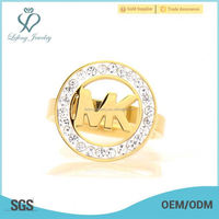 Top selling women's round shape yellow gold toe ring model ,crystal MK jewelry rings