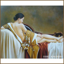 Beautiful chinese girl nude canvas oil painting