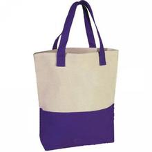 2015 new design custom printed plain fashion purple and white color blocking cotton shopping tote bag