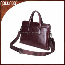 2015 hot selling briefcase style reddish brown top layer oiled genuine leather shoulder bag