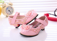 High heel PU pearl butterfly knot princess girl shoes