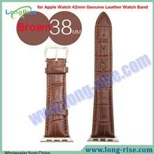Luxury Crocodile Pattern Watch Strap for Apple Watch 38mm Genuine Leather Watch Band