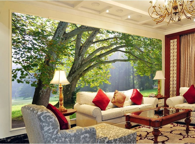 3d wallpaper mural green three forest scenery photo wall paper background tv ebay - Poster mural 3d ...
