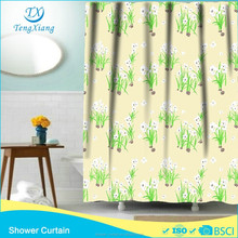 hook less polyester kinds of curtains white flowers curtain