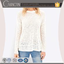drop shoulder long sleeve soft slub round neck sweaters pullover women 2015