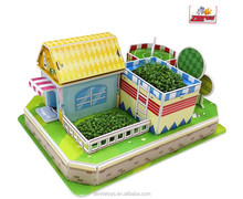 2015 China manufacture new design 3D puzzle famous planting educational puzzles for kids toys