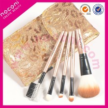 2015 Noconi Custom Made Promotion Travel 5pcs Makeup Brushes Set with Lip Shaped Pattern Cosmetic Bag