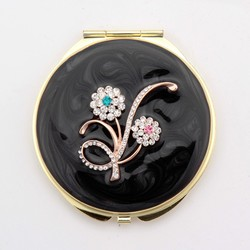Compact Round Pocket Makeup Handcrafted Purse Mirror 1x & 3x Magnification HQCM290991-2