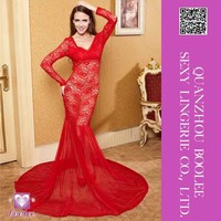 2015 Unique Design Wholesales New European and American Style Party Red Sexy Long Dress