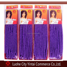 Cheap soft synthetic dreading hair purple 100% kanekalon dreadlocks hair extensions soft dreads braids