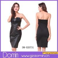 Wholesale Black Bandage Dress Leather Party Dress Woman Dress Cocktail