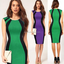 HJL-1002 Veri Gude Sexy color matching European OL dress women fashion cheap pencil dress