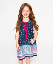 Hot New Product For 2016 Navy Floral Shift Eo-Friendly Washable Toddler & Girls Cute Dress Z-GD80731-31