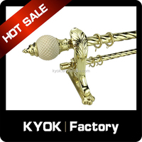 KYOK new design fancy decorative 35mm curtain rods, fancy curtain resin finial, non-rust metal swivel curtain pole 28mm