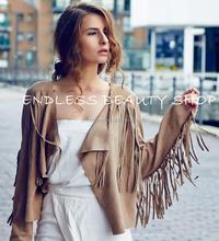 Soft faux suede fringe cropped jacket hippie tassel drape cardigan moto boho women fashion coats 2015 summer design coat