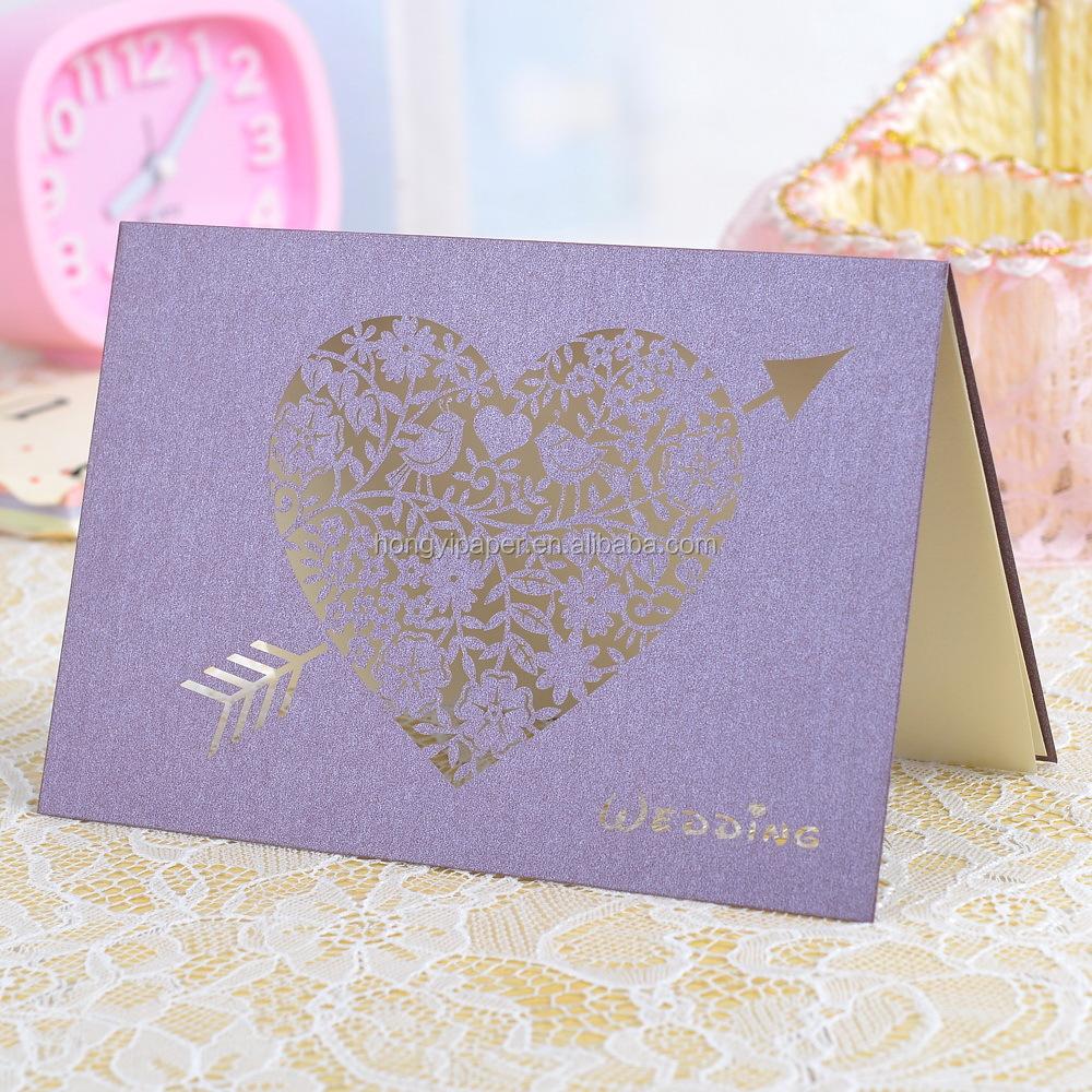 Cartão de presente extravagante convites de casamento baratos com cor roxa